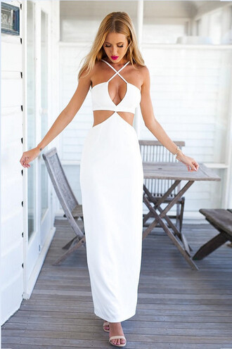 dress criss cross dress white maxi bikini luxe