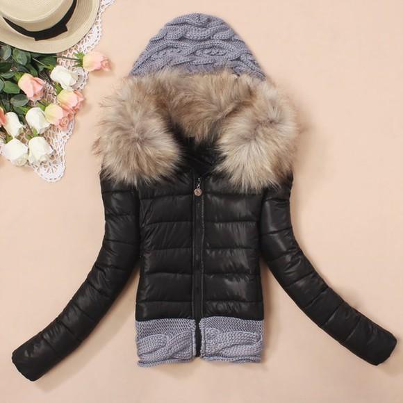 faux fur jacket black faux fur jacket wool winter jacket winter outfits hoodie jacket
