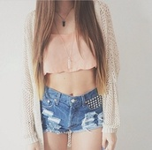 top,apricot,crop tops,summer outfits,pink,short top,pretty,jeans,shorts,whole oufit,jewels,tank top,halter top,cardigan,knitted cardigan,beige cardigan,necklace,native american,aztek,sweater,black and white