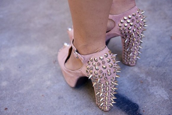 shoes stud spikes spike pink baby pink high heels pink pink, high heels, princess, shoes, beautiful, baby pink, cute, heels dress, shoes, pretty, cute, fashion, white dress, long sleeve dress boots, timberlands, womens, pink, studded, cheetah watch