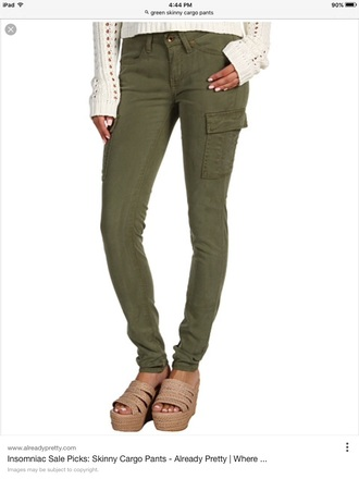 jeans green skinny cargo pants