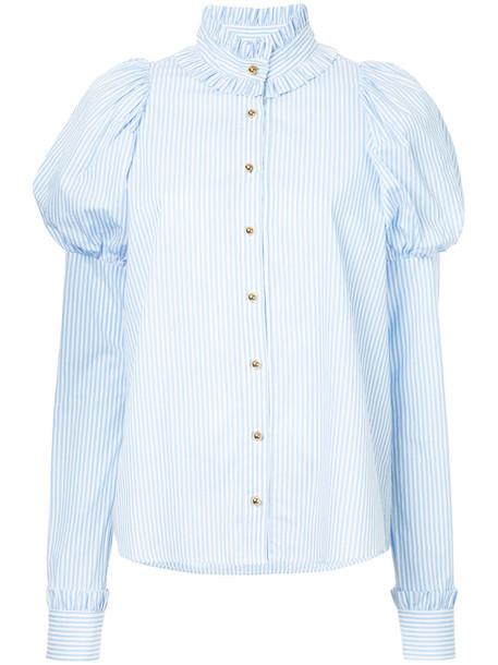 macgraw shirt heart women cotton blue top