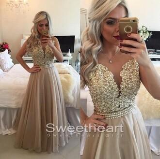 dress evening dress champagne a-line lace chiffon lo prom dress