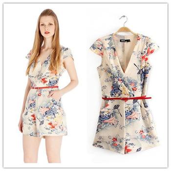 Summer Short Rompers For Women Long Sleeves Deep V Neck Plus Size ...