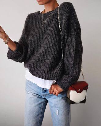 sweater tumblr grey sweater knit knitted sweater bag mini bag chain bag denim jeans blue jeans