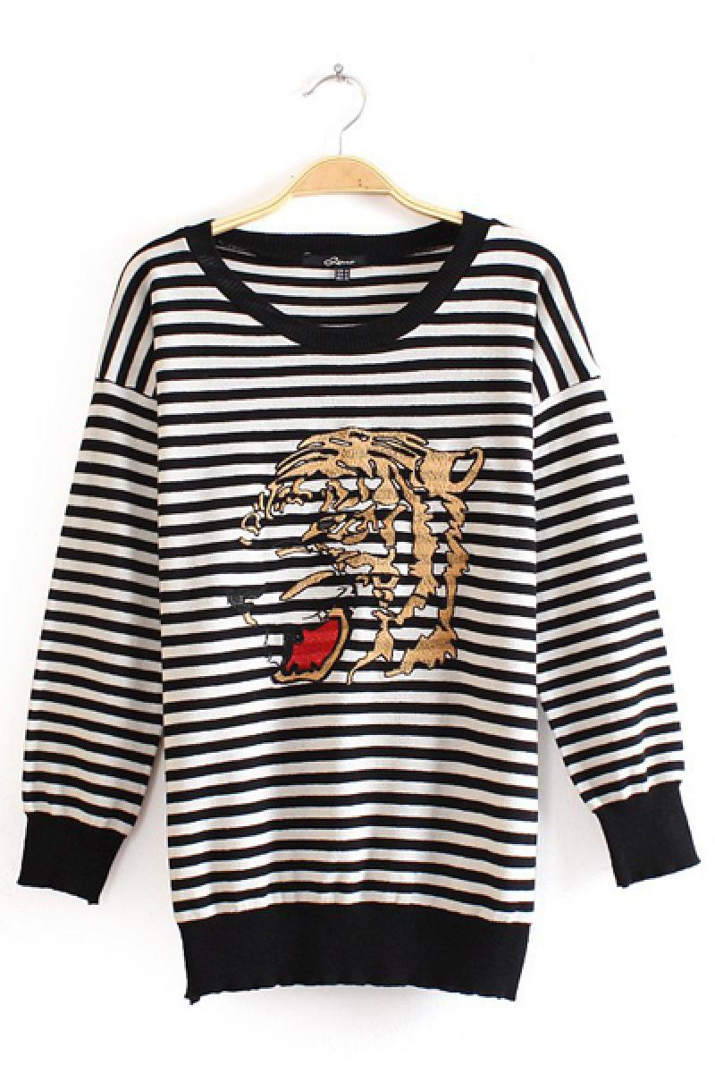 Tiger Embroidery Fashion Striped Knitwear,Cheap in Wendybox.com
