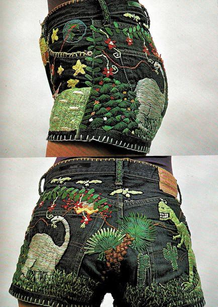 shorts embroidered cute shorts denim shorts green and black