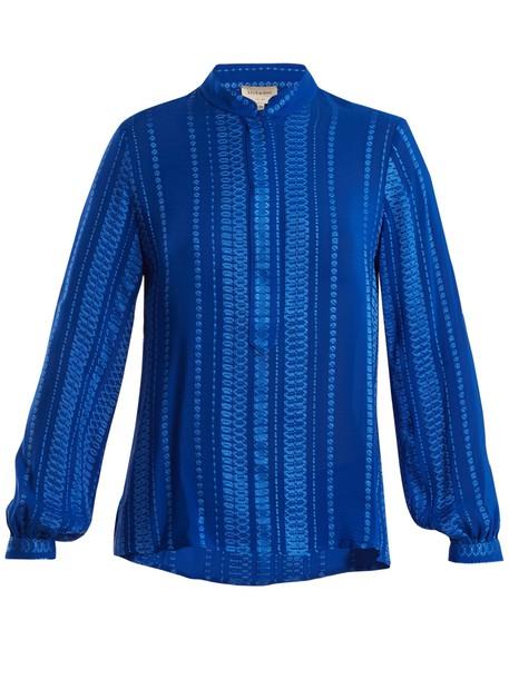 shirt jacquard geometric silk blue top