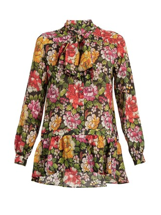 blouse floral print silk black top