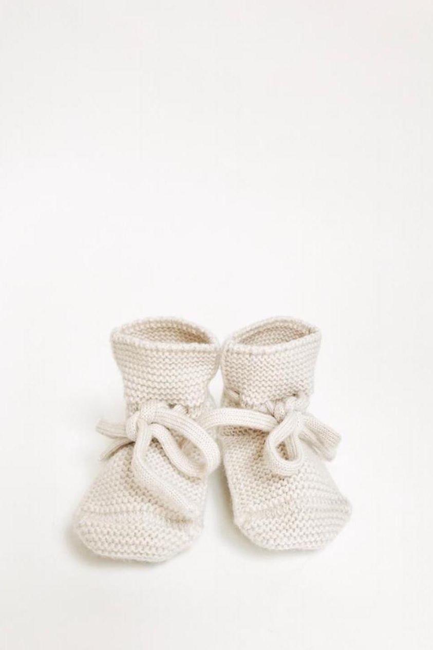 Hvid Knitted Merino Baby Booties