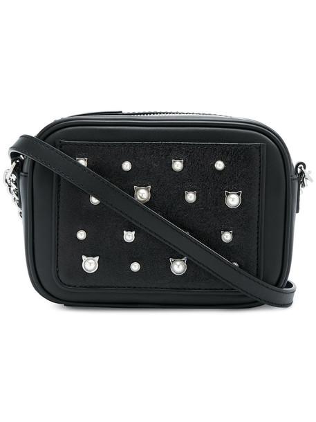 karl lagerfeld women pearl bag crossbody bag leather black