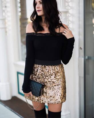 skirt glitter skirt mini skirt gold skirt sequins sequin skirt disco skirt top black top off the shoulder off the shoulder top bag party outfits gold sequins nordstrom