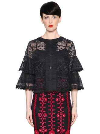 top lace top ruffle lace black