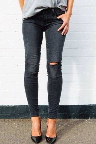 jeans distressed jeans grey skinny pants jeggings