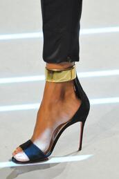 shoes,heels,high heels,gold,black,black heels,gold heels,classy,formal,black crop top,high heel sandals,brown sandals