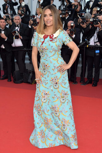 dress maxi dress cannes salma hayek red carpet dress