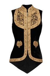coat,detailed beading,gem detail,gold,black,dark,goth,vest,black vest,waistcoat,pearl,leaf embroidery,embroidered,collar,mandarin collar,boho chic,zipped,tight,accented waist,high collar,autumn/winter,vampire,witch