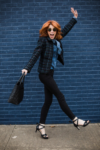 themiddlepage blogger jacket shirt jeans shoes bag jewels black jeans sandals winter outfits