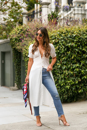 dress,white dress,maxi dress,side split,jeans,high heel sandals,bag,sunglasses,earrings