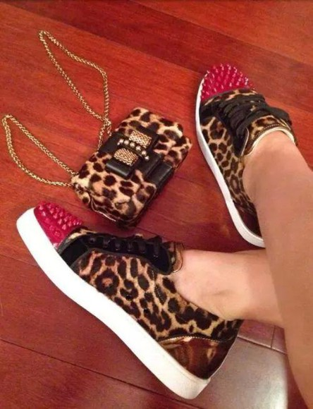 shoes spikes leopard print cheetahprint sneakers blouse bag