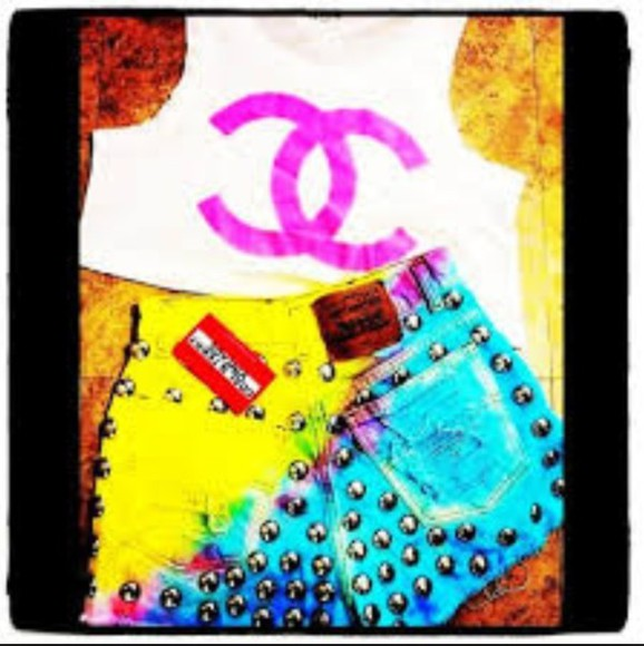 studs white yellow denim shorts chanel high waisted bright hot pants tie dye cute
