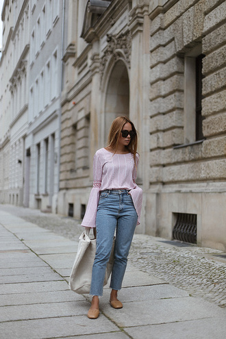 jacket tumblr denim jeans blue jeans shoes top pink top bell sleeves long sleeves bag tote bag sunglasses