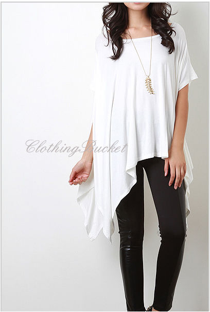 OS Women Short Sleeve Bohemian Loose Fit Oversize BOHO Chic White Tunic