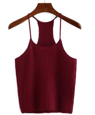 top girl girly girly wishlist knit burgundy cropc crop tops cropped cute spaghetti strap
