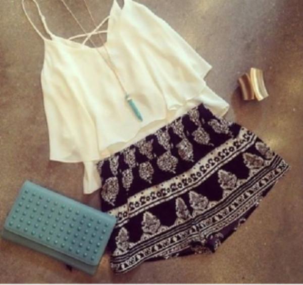 shorts aztec shorts aztec aztec print black and white blouse