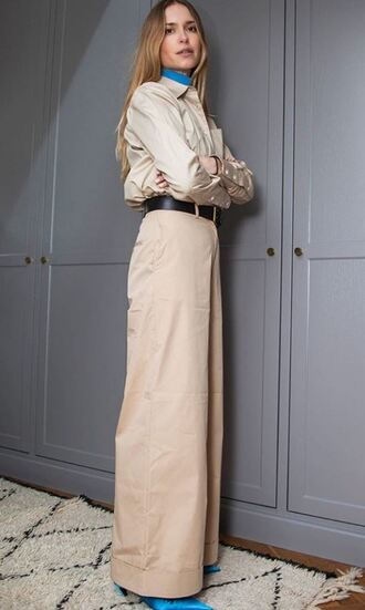 shirt blouse top pernille teisbaek blogger wide-leg pants belt