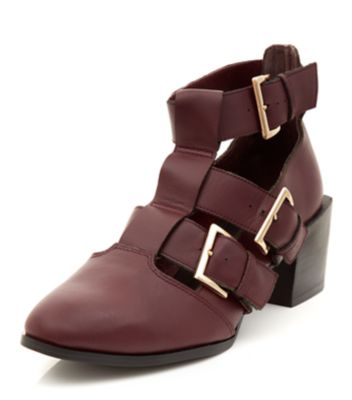 Dark Red Premium Leather Caged Buckle Pointed Boots