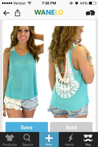 blouse blue tank top