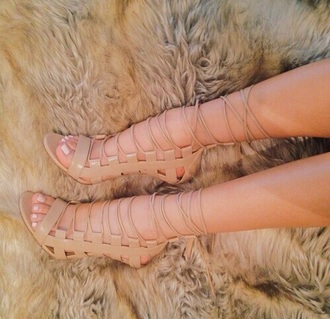 shoes nude lace up heels open toe wrap wrap heels