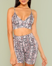 romper,girly,girl,girly wishlist,two-piece,matching set,snake print,crop tops,cropped,crop,shorts