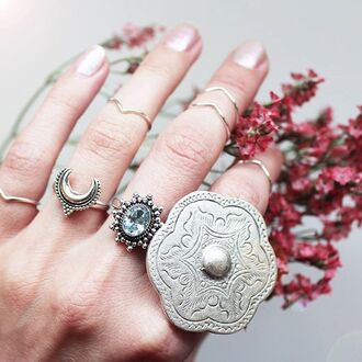 jewels shop dixi gypsy boho bohemian hippie grunge jewelery jewelry sterling siver ring midirings above knuckle ring crescent moon