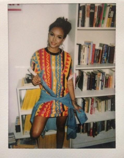 Sweater Model Vintage Girl Winter Outfits Karrueche Pullover Tribal Pattern Tribal ...