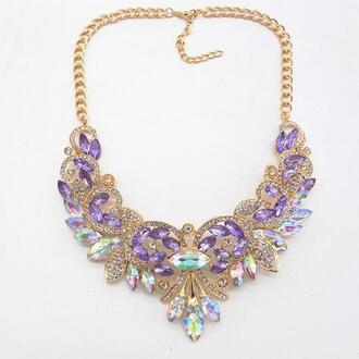 jewels crystal necklace with moon and star