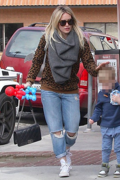 sweater hilary duff jeans boyfriend jeans ripped jeans