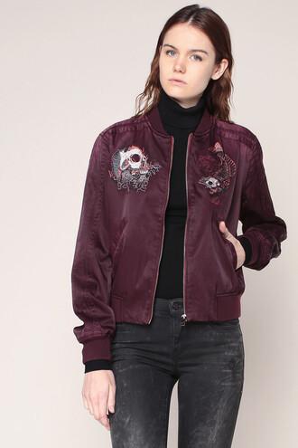 jacket burgundy burgundy bomber jacket diesel patch patched bomber bomber jacket fall outfits back to school