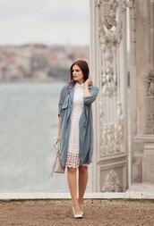 the bow-tie,blogger,coat,dress,shoes,bag,white lace dress,blue coat,high heel pumps,high heels