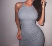 dress,grey dress,fashion,style,lookbook,pencil skirt,summer dress,cute dress,grey,short,short dress,cotton,tight,sexy,knitted dress,bodycon dress