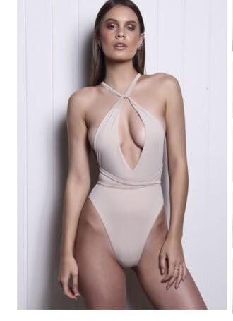 swimwear one piece swimsuit beige nude sexy strappy bikini blush pink bikini pink strappy strappy bikini bottom