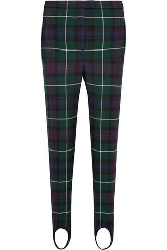 pants stirrup pants wool green tartan