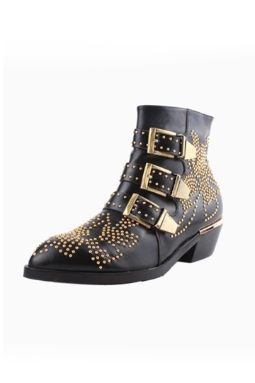 Retro Rivet Metal Buckle Pointed Boots [HXM1983]- US$138.99 - PersunMall.com