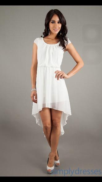 dress white dress high low dress cute style cute dress