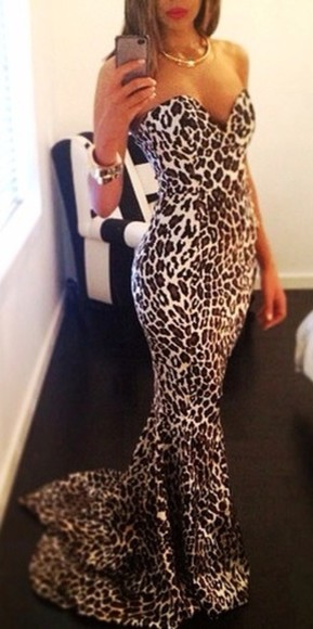 dress long dress leopard print strapless dress low cut dress