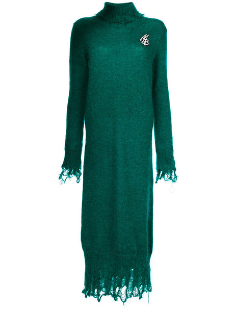 Marco Bologna dress knitted dress women mohair wool green