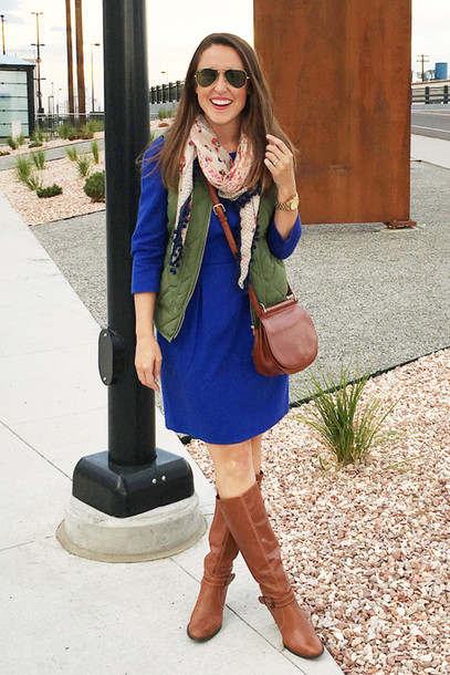 here & now | a nashville style blog blogger bag jacket dress shoes sunglasses quilted vest scarf aviator sunglasses blue dress three-quarter sleeves mini dress brown leather bag leather bag crossbody bag brown bag knee high socks brown boots boots