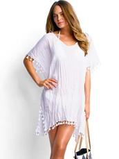 dress,kaftan,beach,seafolly 2016,cover up,women beachwear,white dress