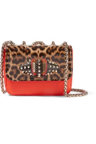 sweet bag shoulder bag leather print leopard print red